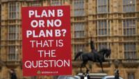 Activistes proeuropeistes mostren una pancarta a les portes del Parlament britànic