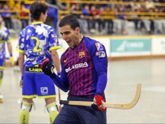 Marc Gual celebra un gol a la pista del Caldes aquesta temporada