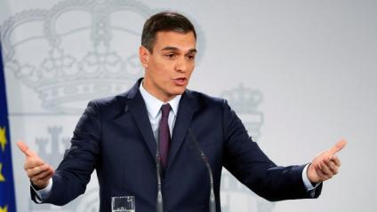 Pedro Sánchez anunciant ahir les eleccions generals