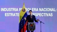 El líder opositor veneçolà, Juan Guaidó, en un acte sobre la indústria petroliera, a Caracas