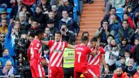 Els jugadors del Girona celebren el gol de Portu