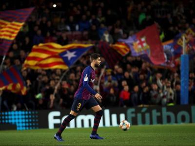 Piqué, en el partit contra el Sevilla corresponent a la tornada dels quarts de final de la copa, en què el Barça va capgirar un 2-0