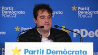 El president del PDeCAT, David Bonvehí, ahir en roda de premsa al local del partit a Sarrià