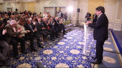 El president a l'exili, Carles Puigdemont, durant els seu parlament avui a Brussel·les