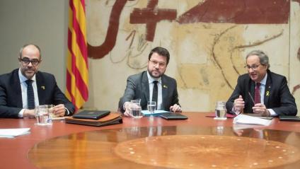 El conseller Buch, el vicepresident Aragonès i el president Torra