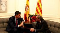El president Torra, al desembre, quan va rebre el seu homòleg espanyol, Pedro Sánchez, al Palau de Pedralbes