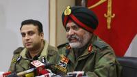 El tinent general indi Kanwal Jeet Singh Dhillon, durant una roda de premsa ahir al Caixmir indi