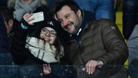 Matteo Salvini, viceprimer ministre italià i líder de la Lliga, durant un partit de futbol