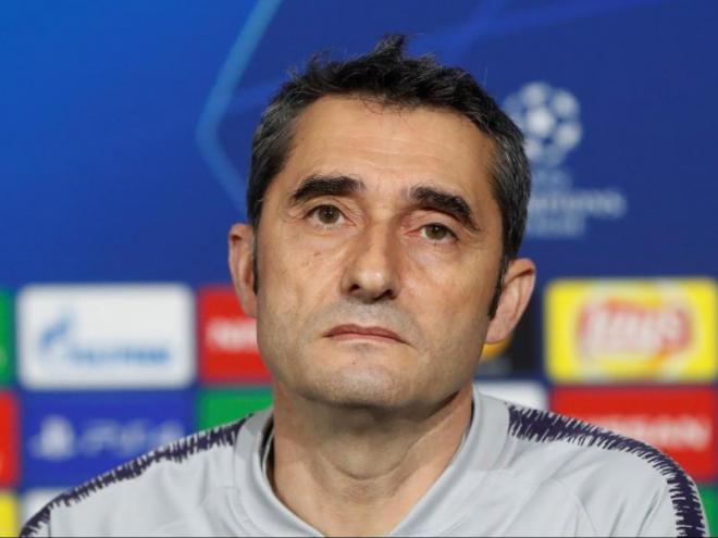 El tècnic del Barça, a la sala de premsa de l'estadi Groupama