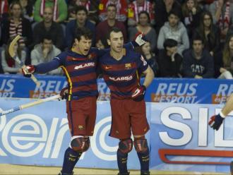 Álvarez i Panadero celebren un gol en la final del 2016 entre el Barça i el Vic