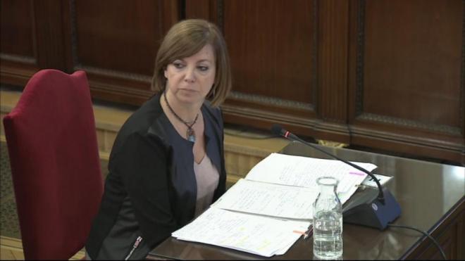 La consellera de Governació, Meritxell Borràs, durant la seva declaració