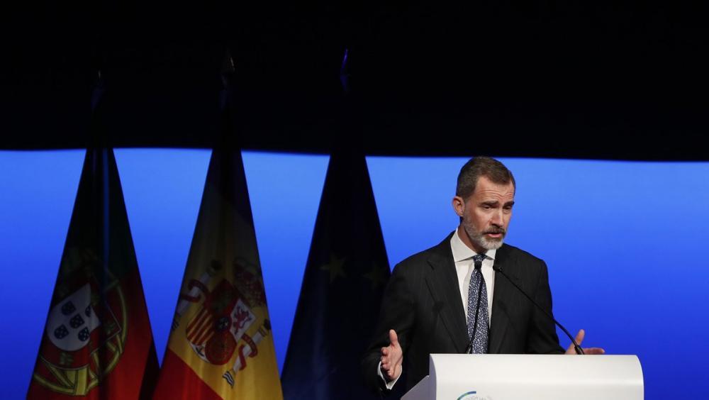 El rei Felip VI durant la seva intervenció en el XXVI World Law Congress, que va concloure dimecres a Madrid amb referències del monarca a l'independentisme