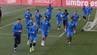 El Girona , en un entrenament