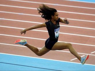 Maria Vicente, en la prova de triple salt del míting Villa de Madrid, celebrat a principis de febrer