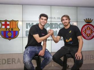 Carles Aleñá i Marc Muniesa, en l'acte de la supercopa de Catalunya organitzat per la FCF