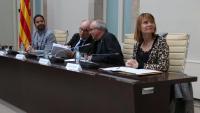 Un moment de l'acte de signatura del Pacte contra la segregació escolar