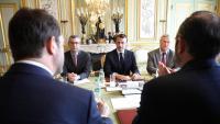 El president francès, ahir reunit amb el seu gabinet a l'Elisi per abordar la crisi