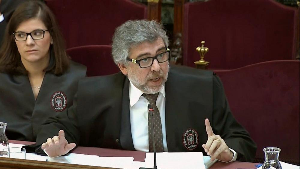 L'advocat de Jordi Turull, Jordi Sánchez i Josep Rull, Jordi Pina, durant una de les sessions del judici