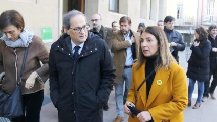 El president de la Generalitat, Quim Torra, i la fins ara alcaldessa de la Garriga, Meritxell Budó, en una imatge del mes de gener passat