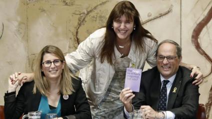 Elsa Artadi i Laura Borràs, ahir en la seva última reunió del govern, amb el president, Quim Torra