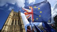 Un manifestant anti Brexit en una protestat davant del Parlament a Londres