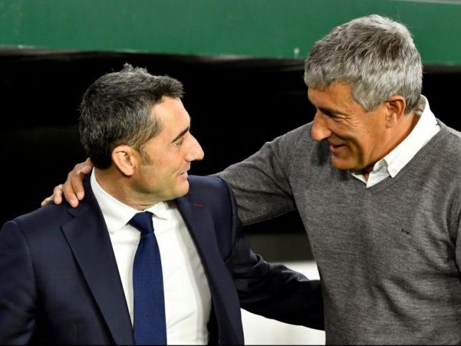 Valverde saluda Quique Setién, abans del partit d'ahir