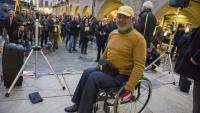 Jordi Puig durant l'acte de rebuda ahir al vespre a la plaça del Vi de Girona