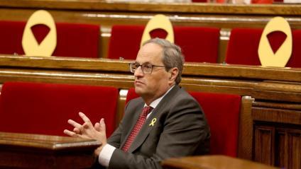 El president, Quim Torra, a la sessió de control d'ahir al matí al Parlament