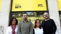Pilar Vallugera i Robert Fabregat, de la federació de Barcelona d'ERC, i Gina Driéguez i Marc Grau, de Nova