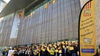 La concentració d'ahir davant de la seu de la Generalitat, a Girona