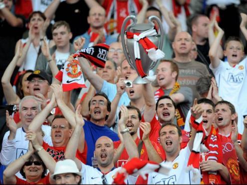 Una imatge de l'afició del Manchester united
