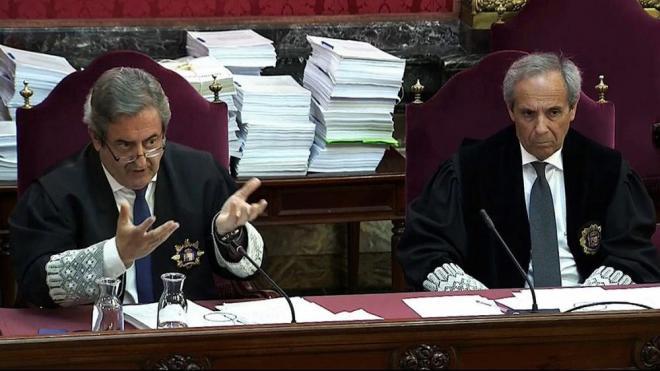 Els fiscals Zaragoza i Moreno<b> en els interrogatoris als caps de la Guàrdia Civil el 20-S en el Suprem, ahir</b>