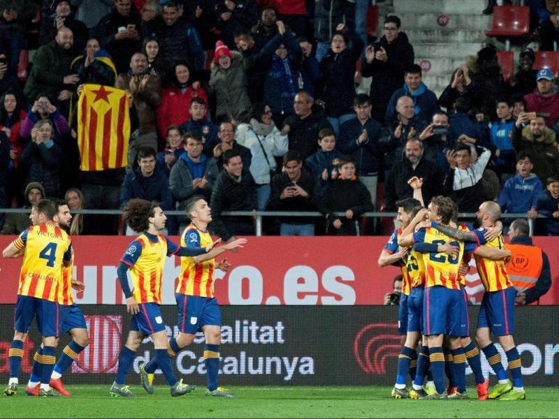 Els jugadors de Catalunya celebren el gol de Bojan