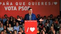 Pedro Sánchez durant un dels actes de campanya del PSOE
