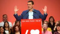 El candidat del PSOE, Pedro Sánchez, a Badalona