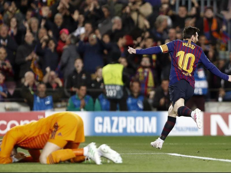 Messi celebra el segon gol contra el Manchester United.