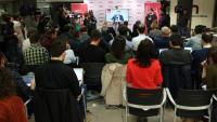 La roda de premsa del líder d'ERC, Oriol Junqueras, va ser seguida amb una gran expectació des de la redacció de l'Agència Catalana de Notícies