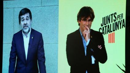 Jordi Sànchez i Carles Puigdemont durant la videoconferència
