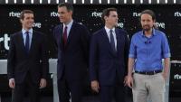 Casado, Sánchez, Rivera i Iglesias, ahir, al primer debat presidencial a TVE