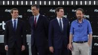 Els quatre candidats dels partits majoritaris espanyols al 28-A abans del debat a TVE