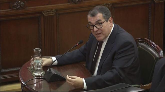 Els exconsellers Jordi Jané, Meritxell Ruiz i Jordi Baiget, ahir en el judici al Suprem