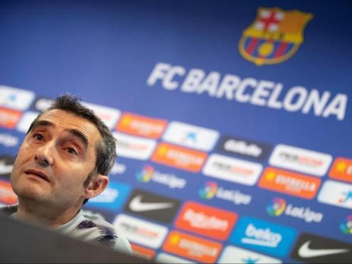 Ernesto Valverde, durant la roda de premsa que va oferir ahir a la tarda, a la ciutat esportiva