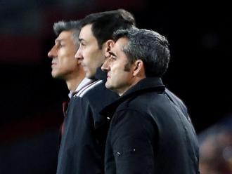 Ernesto Valverde, durant el partit d'ahir al Camp Nou entre el Barça i la Real Sociedad