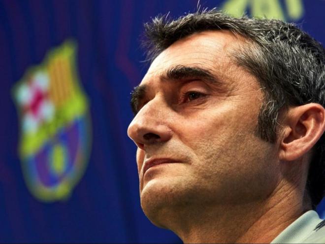 Ernesto Valverde, ahir en la sala de premsa de la ciutat esportiva Joan Gamper
