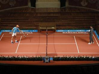 Rafa Nadal i Kei Nishikori, en un acte promocional que va tenir lloc al Palau de la Música de Barcelona