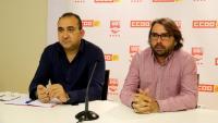 El secretari general de CCOO a Catalunya, Javier Pacheco, i el de la UGT, Camil Ros, durant la roda de premsa