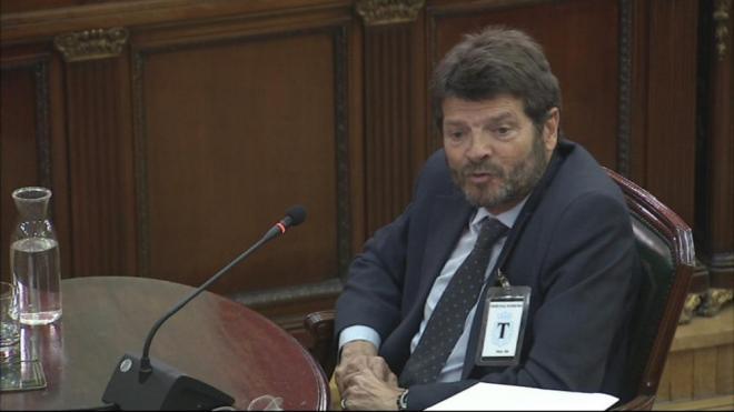 L'exdirector dels Mossos, Albert Batlle, en un moment de la seva declaració al Tribunal Suprem
