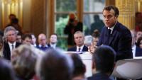Macron, durant la roda de premsa d'ahir al Palau de l'Elisi