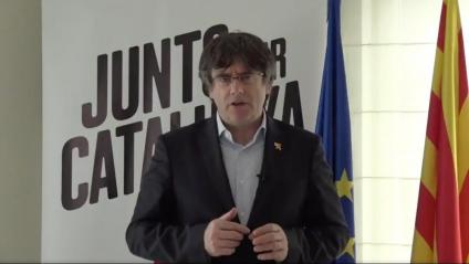 Puigdemont va intervenir ahir en l'acte final de JxCat a Lleida des de l'exili