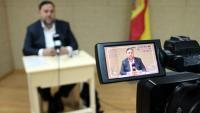 Imatge d'Oriol Junqueras a la roda de premsa feta des de Soto del Real el passat 19 d'abril